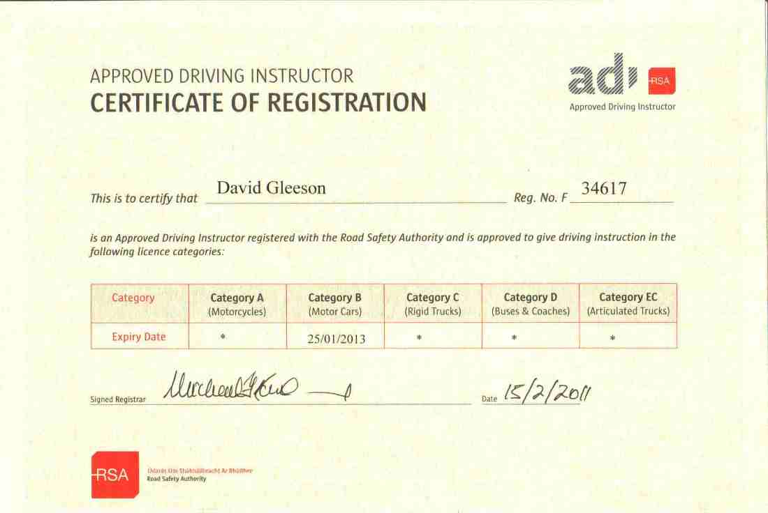 Driving instructor clonmel and thurles rsa approved instructor rsa adi identity card rsa adi registration certificate hazard perception test cert xflitez Image collections