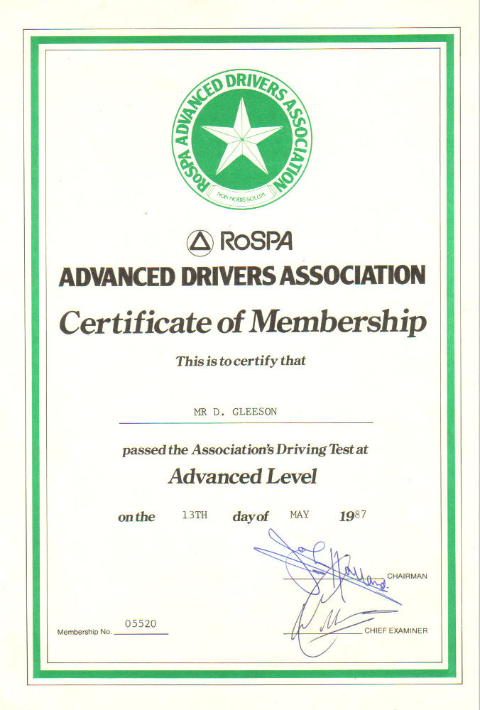 Advanced driving certificate